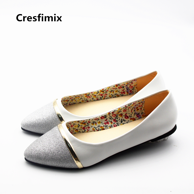 Cresfimix zapatos de mujer women fashion pu leather street flat shoes lady sexy & cute spring slip on flats female cool shoes cresfimix sapatos femininos women casual soft pu leather pointed toe flat shoes lady cute summer slip on flats soft cool shoes