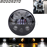 EMARK 7 Round Headlight LED Projector Light High Low Beam Head Lamp for Harley Touring Softail Fatboy FLD