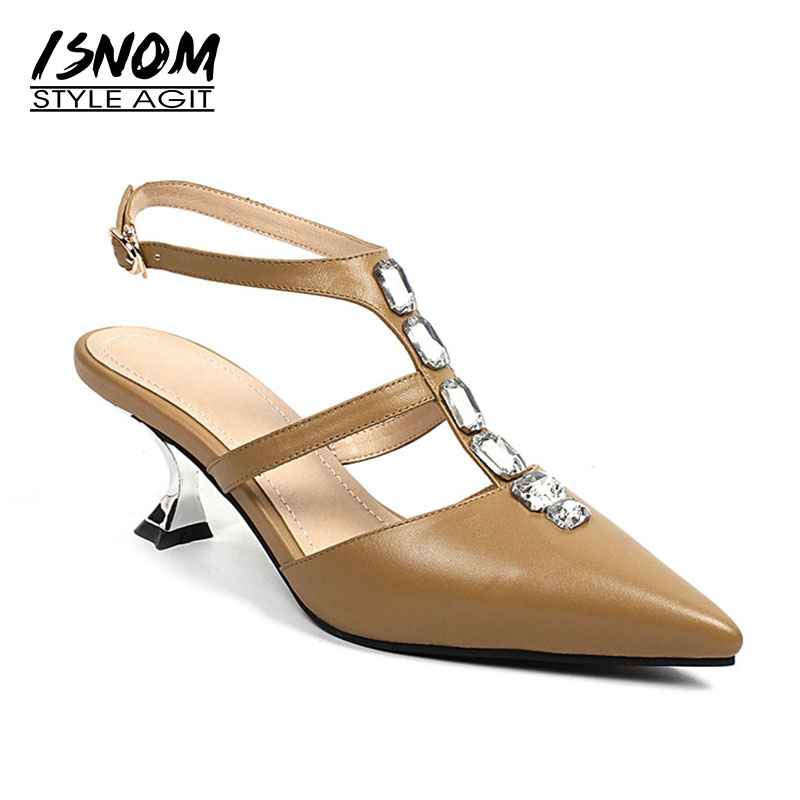 ISNOM 2018 Fashion Women Sandals Sexy Pointed Toe Sandals Summer T Strap Shoes Crystal Ladies Dress Shoes Female Footwear Buckle 2018 new summer women sandals shoes fashion comfortable girls sandals footwear flat sexy causal ladies solid women shoes est1009
