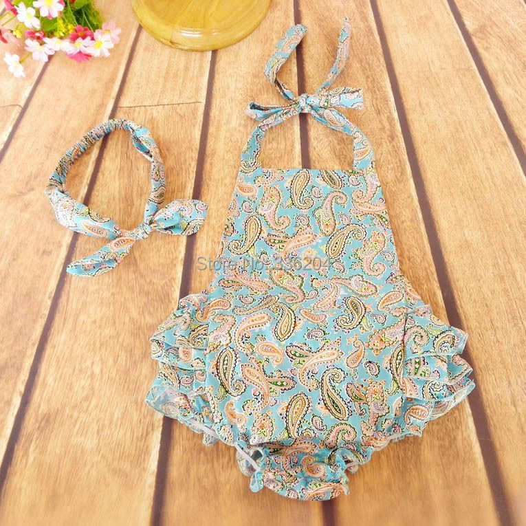 1f61c223393 Cotton FLORAL Playsuit Swim Romper Swimsuit Colorful Flowers Play Suit Full  One Piece with headband