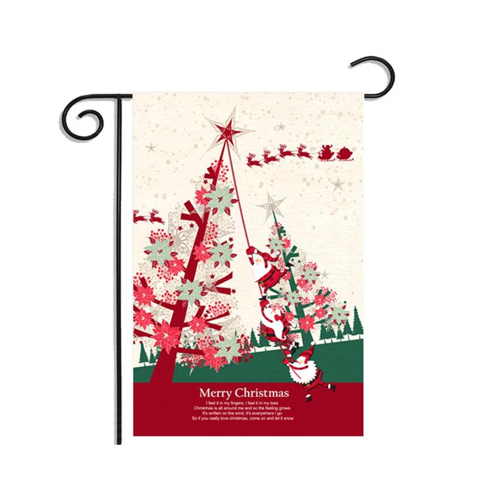 30*45CM Christmas Winter Snowflake Santa Claus Snowman Flag Garden Flag Indoor Outdoor Home Decor  TB 2017 Sale
