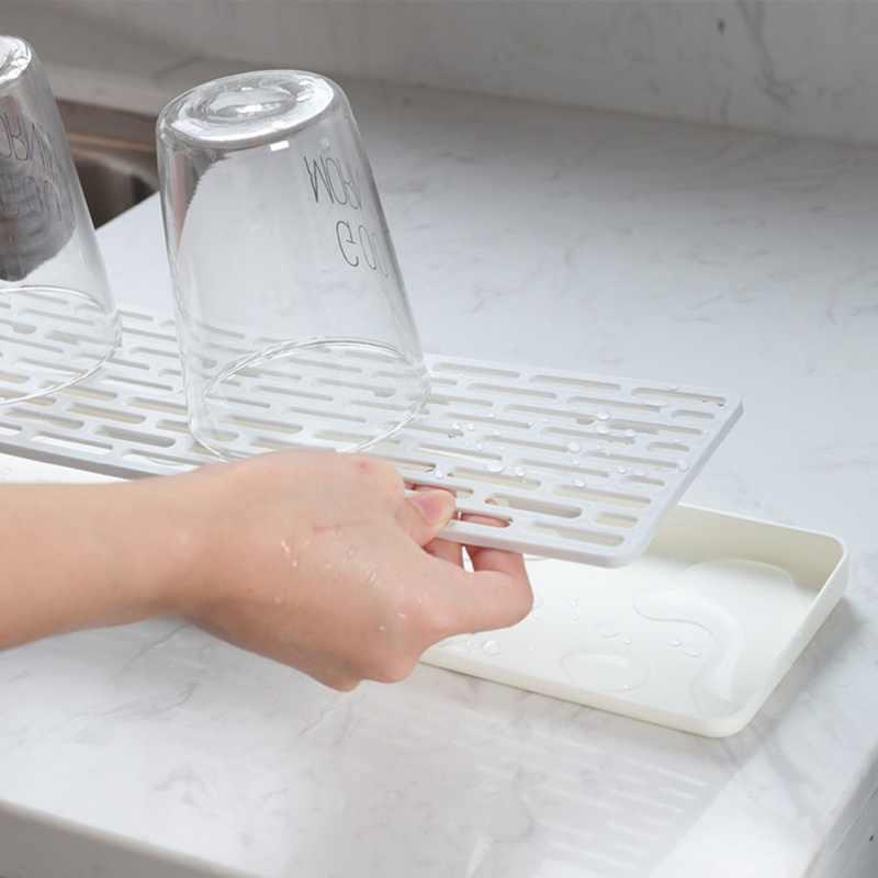 Sederhana Double Layer Drain Tray Air Piala Penyimpanan Nampan Multifungsi Rumah Persegi Panjang Rak Pengeringan