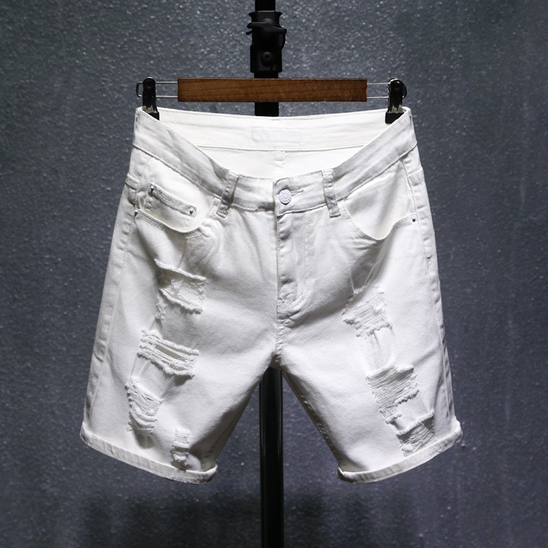 Mens Shorts Elastic Morality Black Beach Cotton Summer Regular in Thin Hole Cultivate