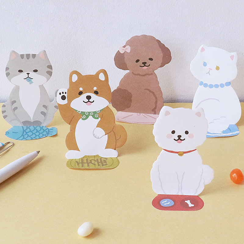 Lovely Fortune Cat Memo Pad Cute 3D Akita Dog N Times Sticky Notes Memo Notepad Bookmark Gift Stationery