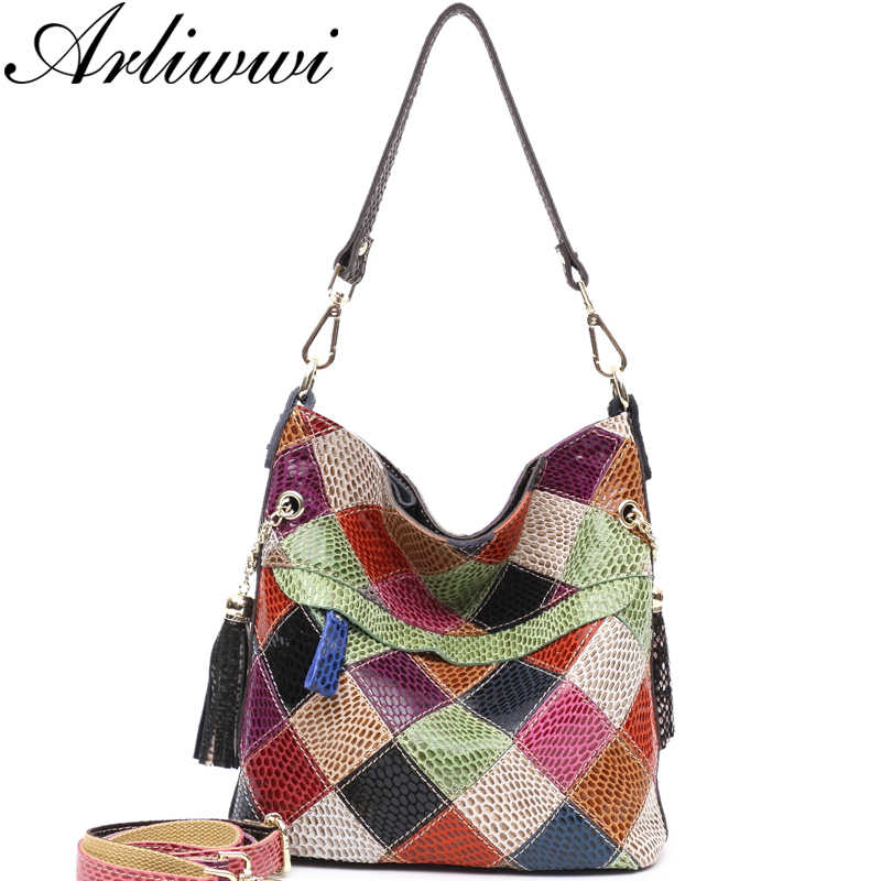 Arliwwi 100% Genuine Leather Colorful Summer style Shoulder Bags Handmade Individual Roomy Cross Body Handbags Lady