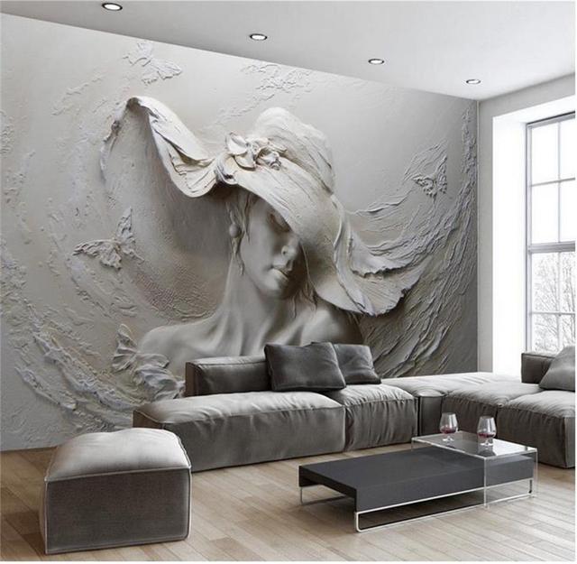 3D Photo Papier Peint Personnalisé Salon Murale Argile Sculpture