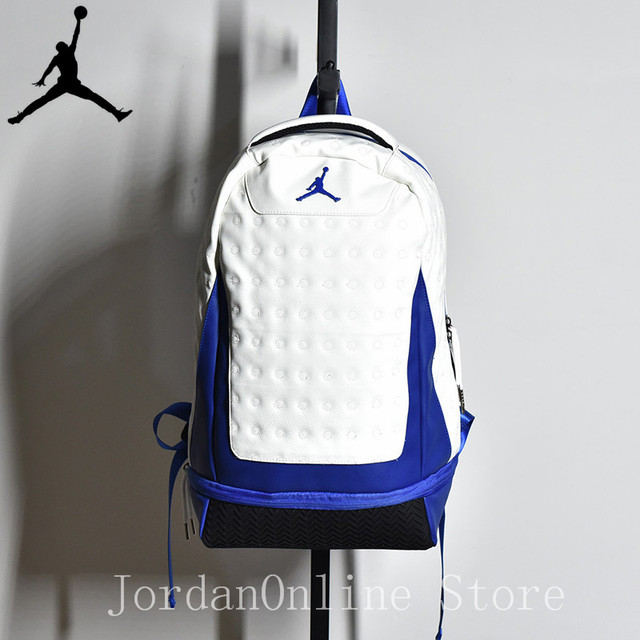 Original Jordan Retro AJ13 Sport Bags Men Women Bookbag Climbing Laptop Bag  Sport-Backpack Quality Couple Bag White Blue Color 521de9d5cd14a