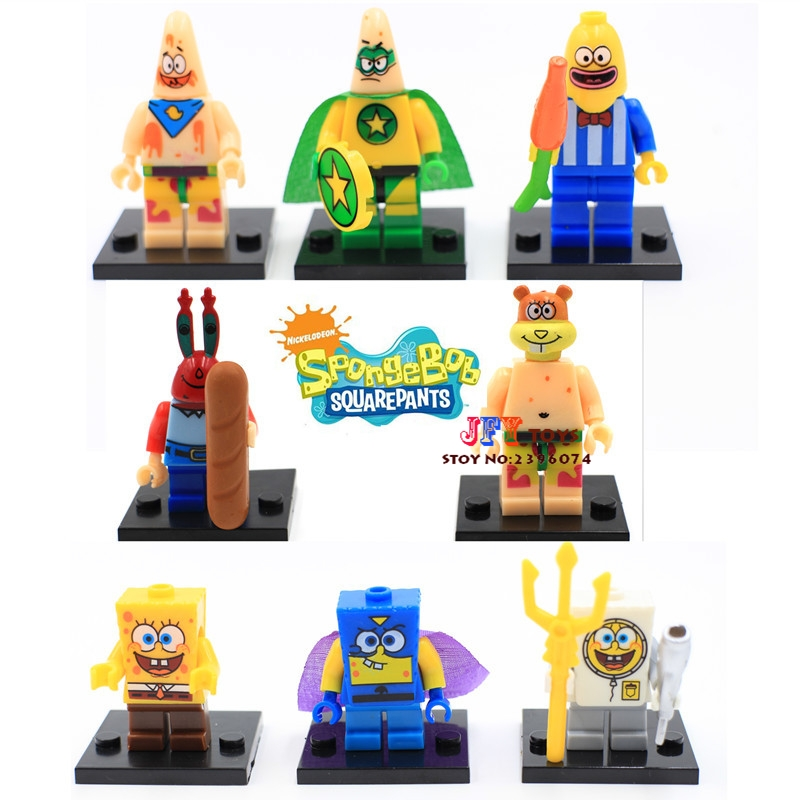 80pcs starwars superhero Spongebob Big Star Squarepants blocks bricks friends for girl house games kids children toys iluminador