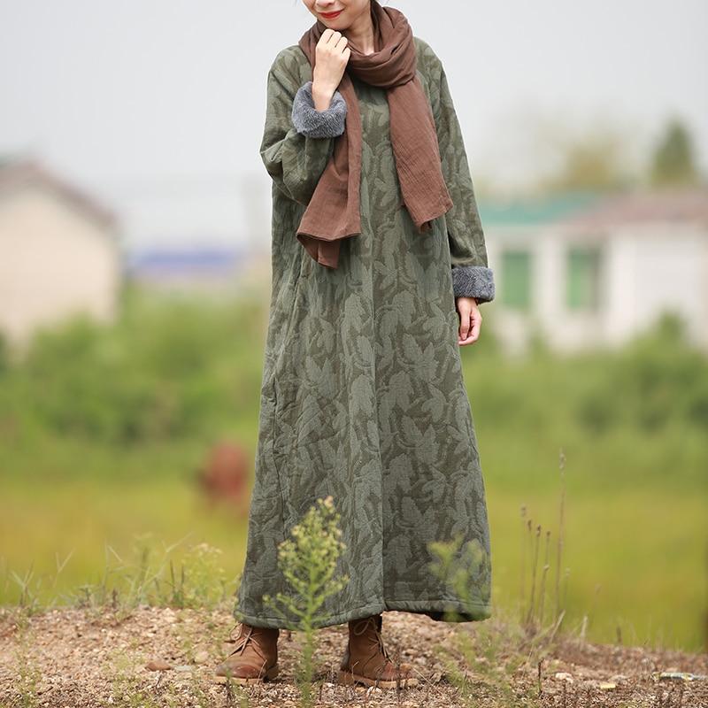 LZJN 2018 Winter Dress Women Long Sleeve Fleece Dresses O-Neck Jacquard Cotton  Gown Pullover 3952cd0af13f