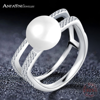 ANFASNI New Arrival Elegant 925 Sterling Silver Clear CZ Horseshoe Pearl Ring For Women Fine Party