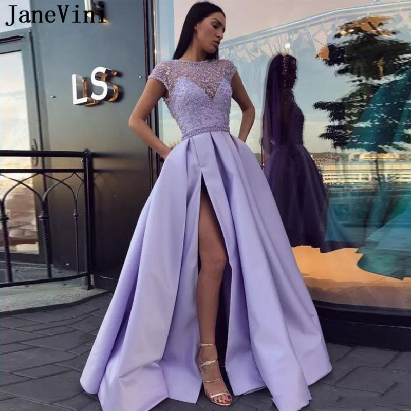 JaneVini Elegant A Line Lilac   Prom     Dress   Satin Cap Sleeves Lace Beaded Side Split Sexy Women Party   Dresses   Plus Size Abendkleid