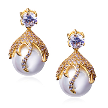Women fashion Earring with Cubic zirconia & imitation pearl drop Earrings wedding jewelry Free shipment low price