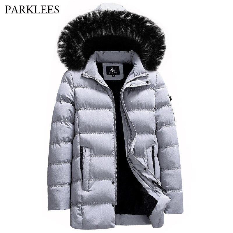 2018 Herren Winter Parka Warme Jacken Und Mäntel Männer Hut Abnehmbare Verdicken Mantel Outwear Einfarbig Zipper Tasche Parka Hombre 3xl