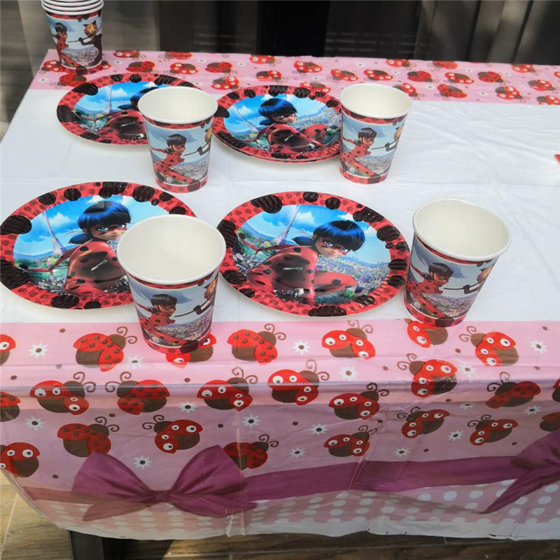 21pcs Miraculous Ladybug Cat Disposable Tableware sets 1pc TableCloth +10 cups+10 Paper plate kids Birthday Party Decoration