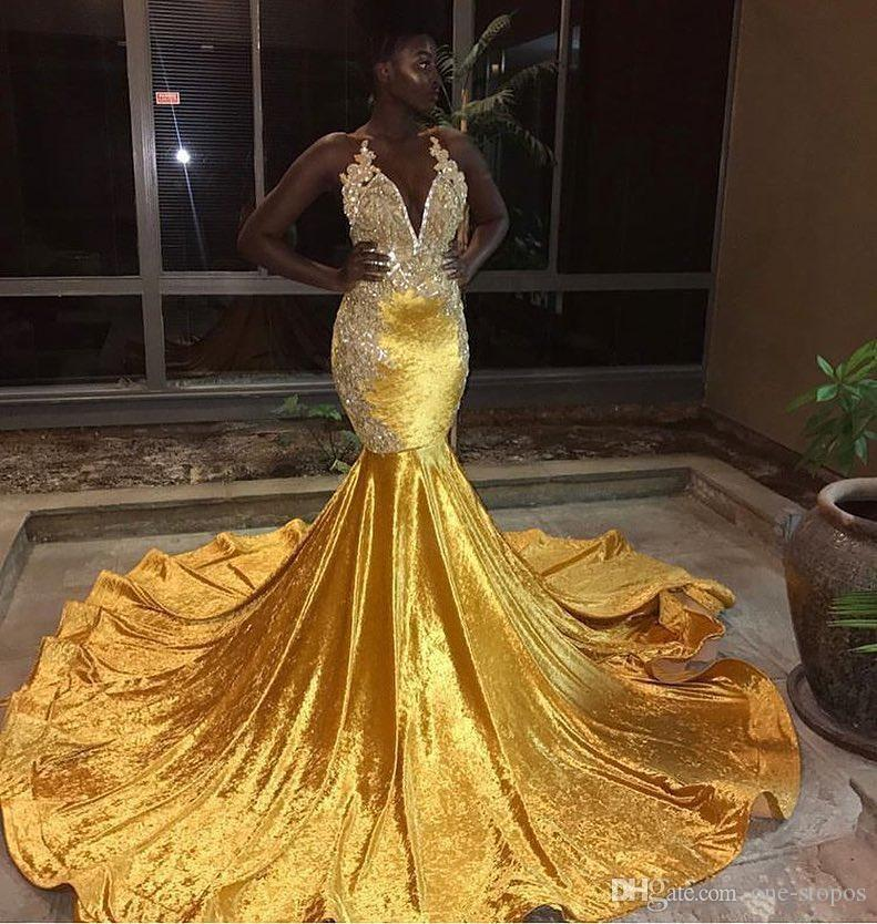 formal evening dress 2019 Yellow Velvet Sexy Prom Dresses Lace Appliques Beaded Ruched Mermaid Evening Party Gown robe de soiree