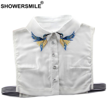 SHOWERSMILE Removable Fake Collar Women Embroidery Animal Detachable White Female Chiffon Blouse Top Shirt False