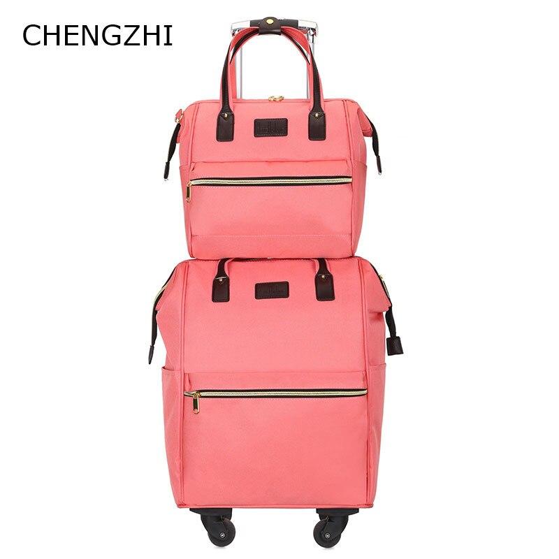 Letrend, 3D, красочные, на колёсиках, для женщин, розовое золото, чемоданы, колеса, для каюты, тележка, дорожная сумка, 20/24 дюймов, для переноски, для... - 3