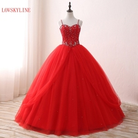 Hot Sweetheart Wedding Dress 2018 Actual Picture Spaghetti straps Lace up Red Color Beading Crystal Custom Size vestido de noiva