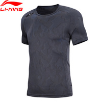 Li Ning Men Training Series T Shirt 100% Polyester Breathable Slim Fit LiNing Fitness Sports Tee Exercise Tops ATSN215 MTS2860