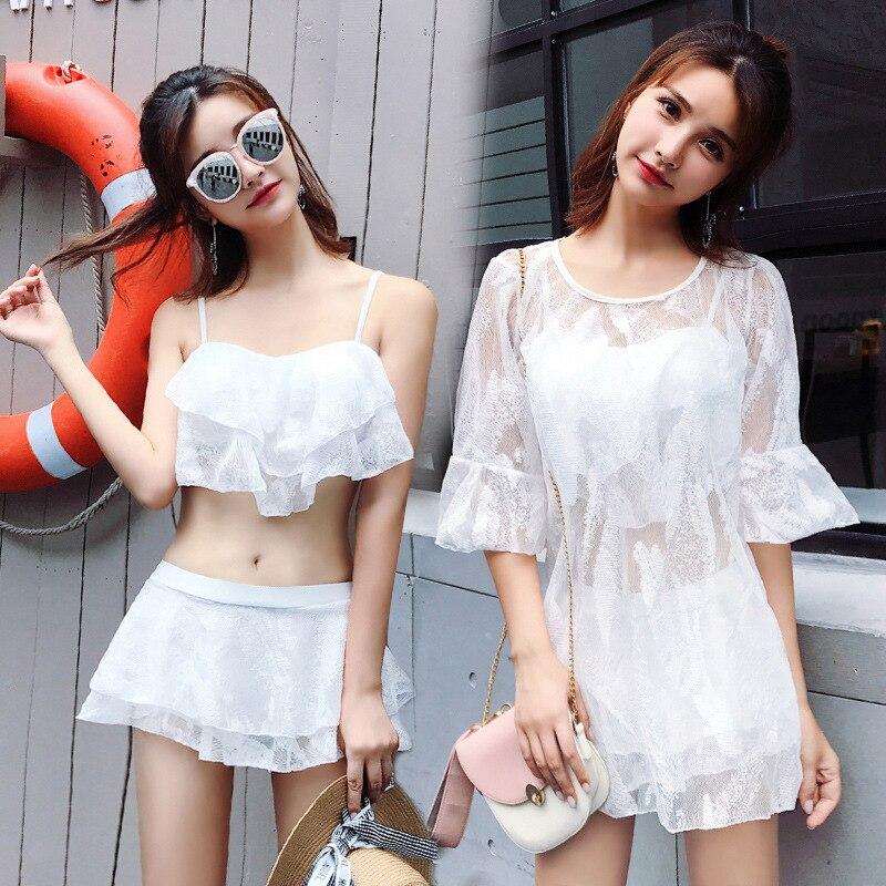 2019 nouveau trois pièces Bikinis ensembles femme printemps chaud noir blanc dentelle plaque d'acier maillot de bain bikini robe de bain pour les femmes A2246YPC