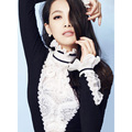 Sweaters Women Pullover Tops New Style Spring Women Ruffles Turtleneck Black White Color Block Lace Patchwork Casual Knitwear