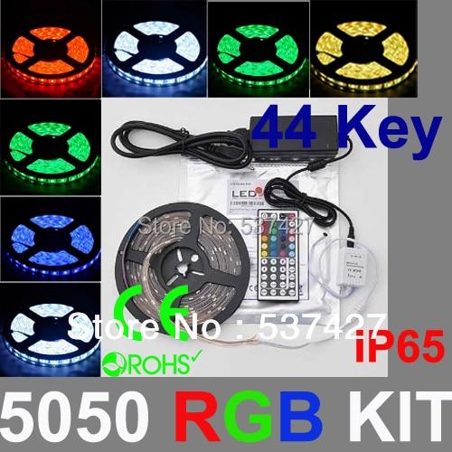 IP65 waterproof 5050 SMD LED Strip Light,  300led/5m RGB Strip+44key&IR remote controller+12V5A driver, 5 Sets/Lot