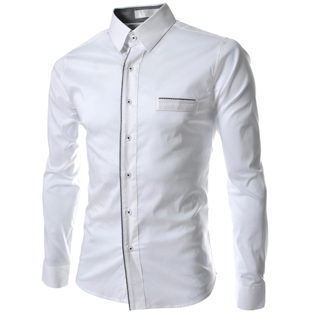 Extrêmement New Men Shirt Chemise Homme 2016 Fashion Design Long Sleeve Mens  TN88