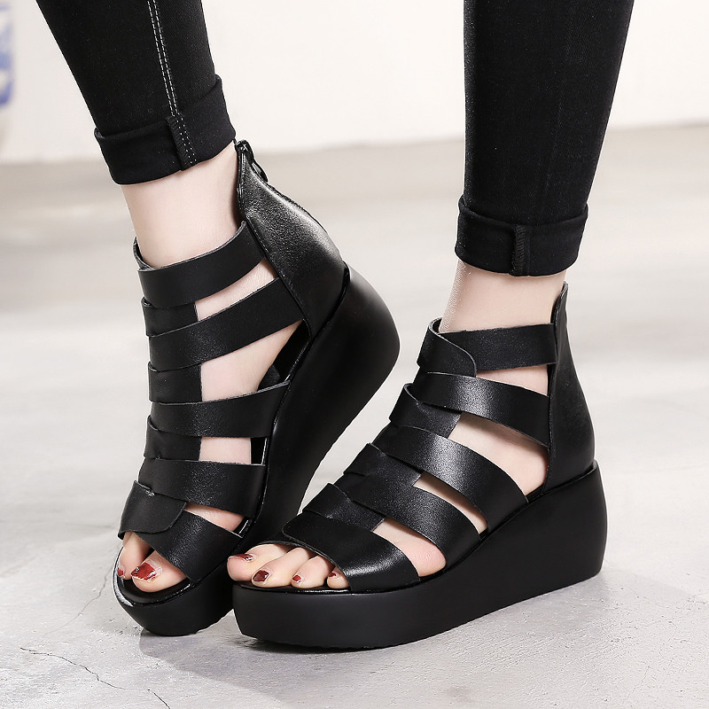 YMECHIC 2018 Lady Rome Platform Sandals Cow Leather Hollow Wedge Heels Gladiator Sandals Women White Black