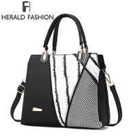 Herald Fasion Women Leisure Striped Handbags Bump Color Printing Design Messenger Bag High Quality Famous Brand