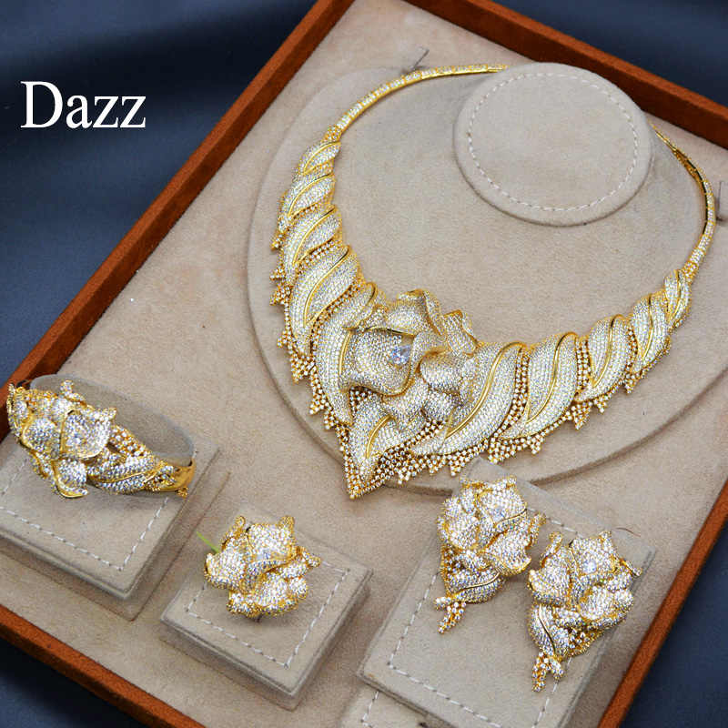 Dazz роскошные большие цветы нигерийский Свадебный ювелирный набор невесты женский циркон ожерелье большое дубайское Кольцо Браслет вечерние аксессуары 2019