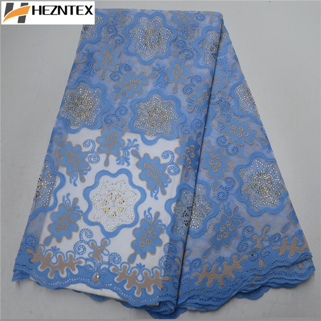 Blue African Swiss Voile Laces Fabrics High Quality Cotton Lace Fabric French Swiss Lace Fabric For Men Women Dress PSA552-1
