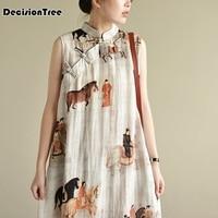 2019 new retro sleeveless chinese women long cheongsam dress linen qipao chinese traditional dress long dress qipao party wear
