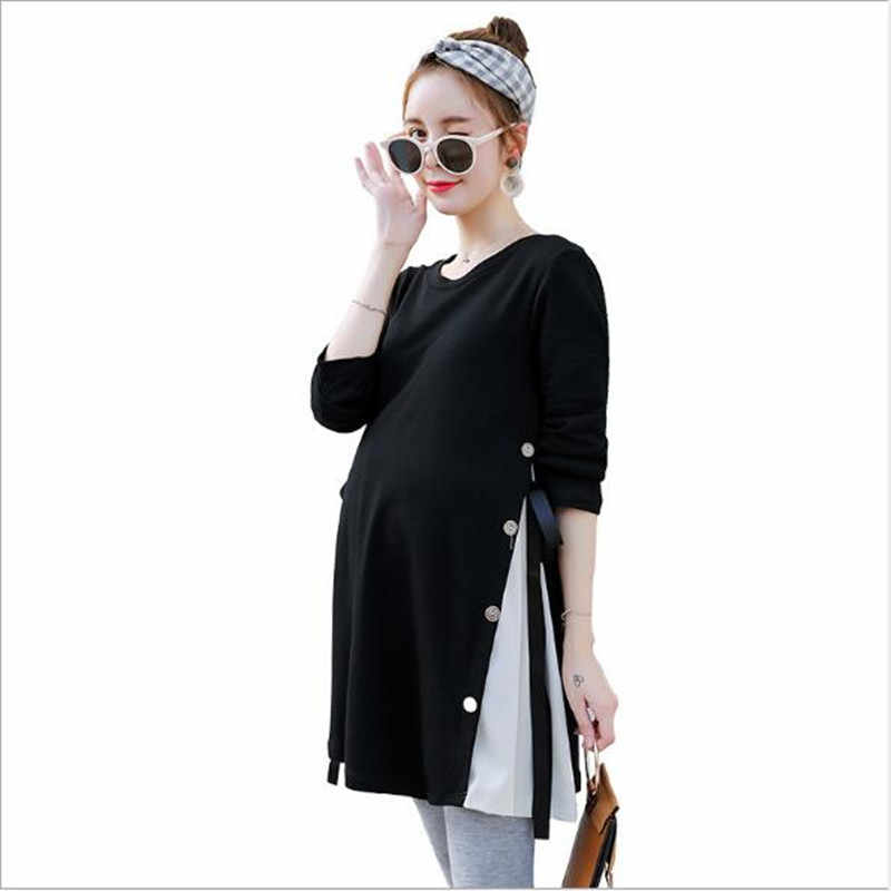 Side Splits Bandage Maternity Shirts 2019 Autumn Korean Fashion Loose Clothes for Pregnant Women Fall Pregnancy Tops Tunic QV813