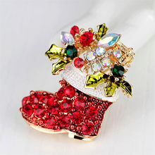 Vintage Female Red Boots Brooches Cute Dainty Red Shoes Brooches Zinc Alloy Rhinestone Brooch Gift Christmas Bows(China)