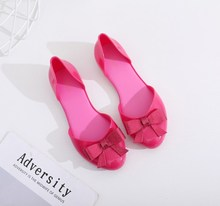 jelly shoes with bowknot for woman sandals ladies women flat melissa womens