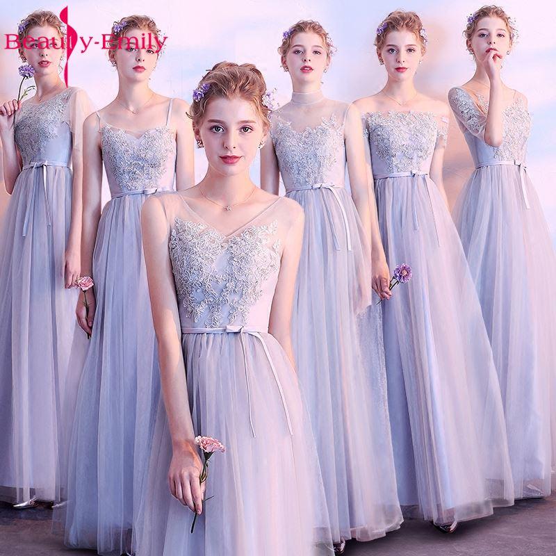 Beauty Emily Long Grey Pink Bridesmaid Dresses 2017 Sweep Train Vestidos Para Festa A-line Floor-Lnegth Wedding Party Prom Dress