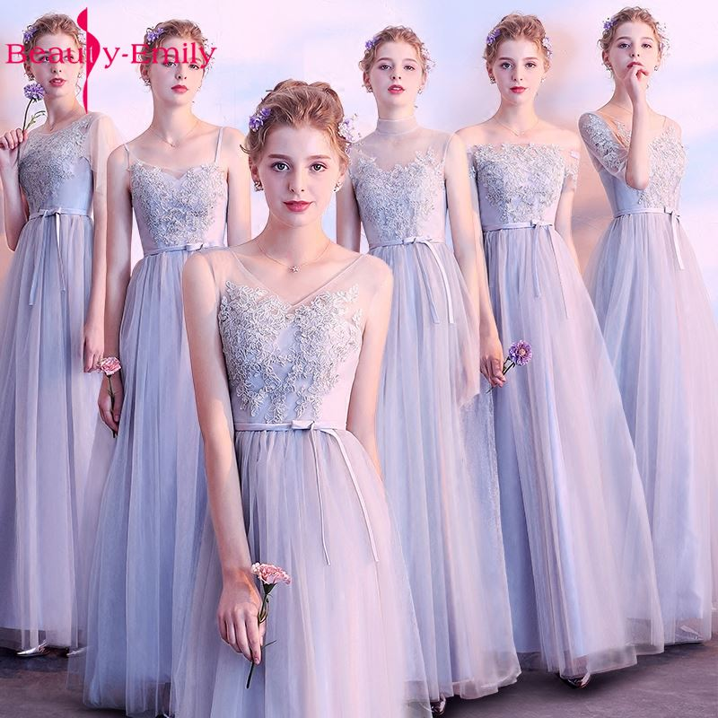 Beauty Emily Long Grey Pink   Bridesmaid     Dresses   2019 Sweep Train Vestidos Para Festa A-line Floor-Lnegth Wedding Party Prom   Dress