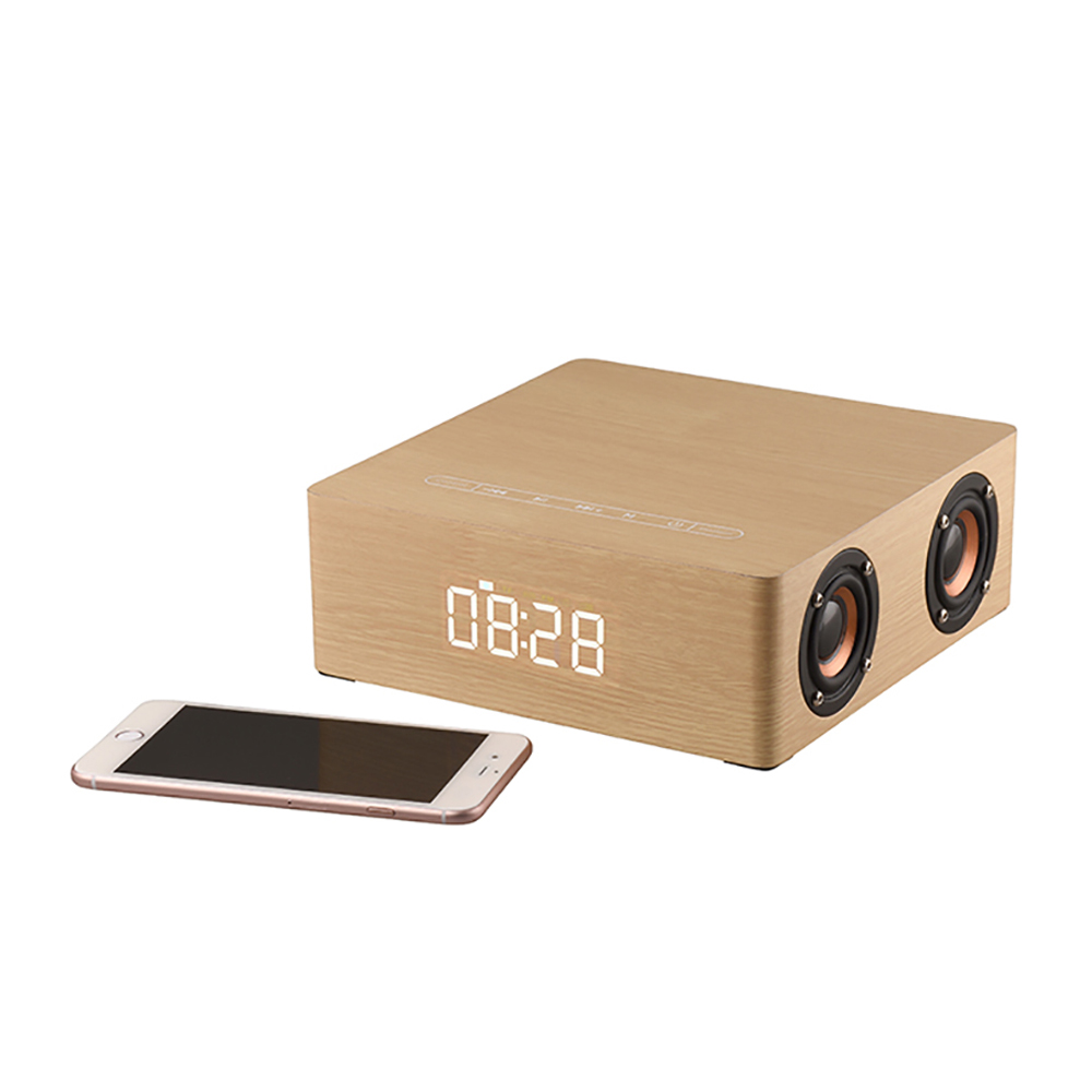 Mrosaa Portable en bois bluetooth haut-parleur numérique réveil 12 W 4 haut-parleur affichage colonne 3D stéréo haut-parleur bureau Table horloge