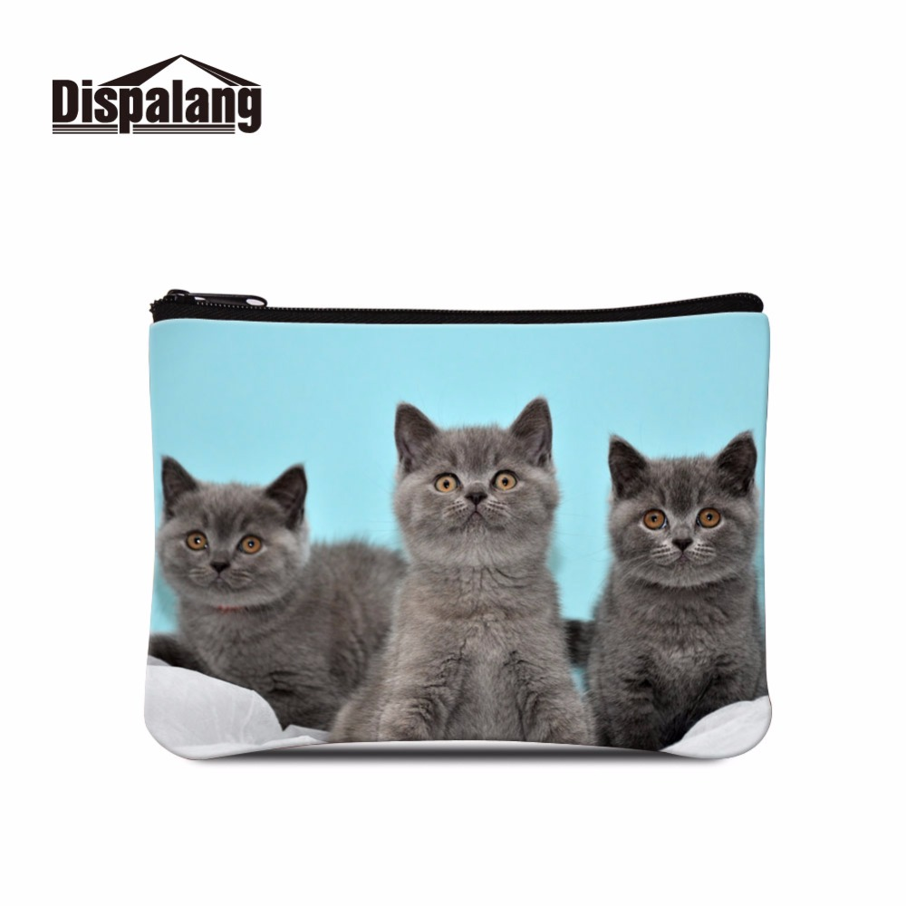 Dispalang Cheap Coin Purse for Women Cat Print Coin Wallet Bags for Girls small pouch purse animal zippered coin pouch Ladies