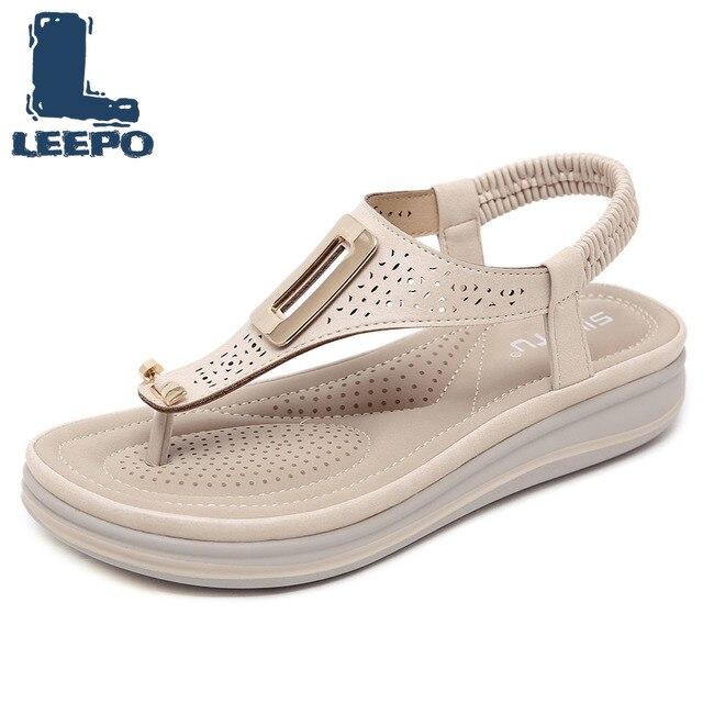 LEEPO Women Summer Flat Platform Sandles Gladiator Shoes Wedges Mesh Hollow Peep Toe Flip Flops Woman Handmade Red Boho Sandals