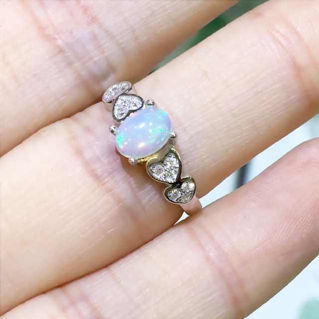 Natural fire Opal ring Genuine solid 925 sterling silver
