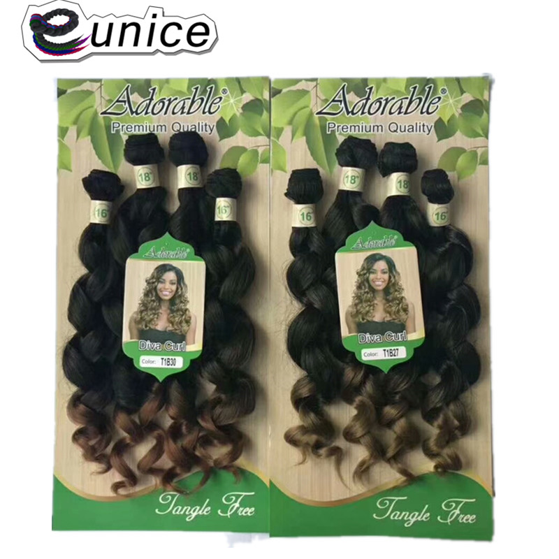 Eunice Hair Bundles Pre-Colored 4PCS/Package Synthetic Hair Weave Ombre T1B/27/30 Ocean Wave 4 Color Available 200G For Women