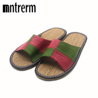 Mntrerm High Quality Summer Linen Home Slippers Candy Colors Flax Slippers Women Home Shoes Large Size