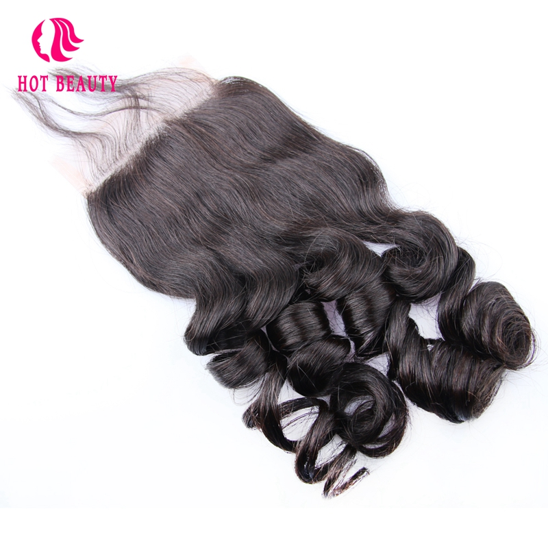 Hot Beauty Hair Peruvian Loose Wave Remy Hair 4X4 Free Part Pre Plucked Lace Closure 10