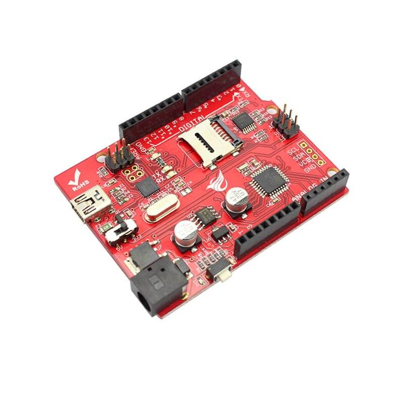 Elecrow Microcontrôleur Conseil Crowduino Uno SD V1.5 pour Arduino UNO Atmega328P Avec Mini USB Câble SD Microcontrôleur