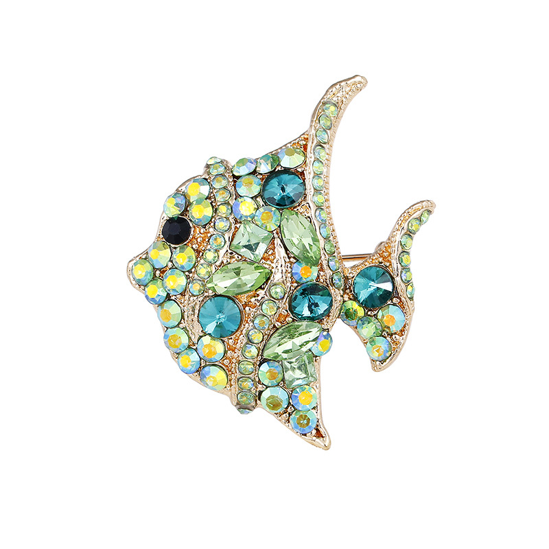 2018 Новое поступление в Корейском стиле Винтаж Роскошный Зеленый Белый Полный Кристалл Рыбы контакты Для женщин брошь Для мужчин броши, Прямая доставка P253