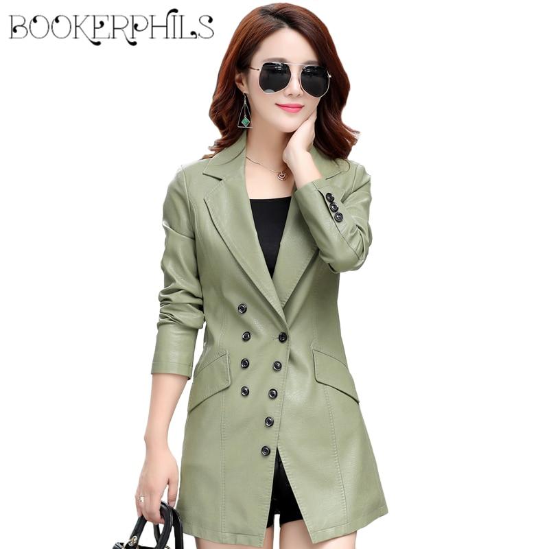 2017 Autumn Winter Long PU   Leather   Jacket Coat Female Outwear Plus Size Double Breasted basic jackets Faux   Leather   Jacket M-5XL