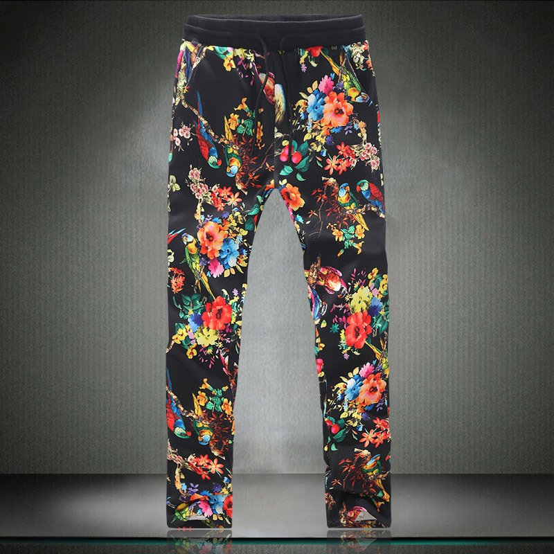 Floral Print Pant Hiphop Mens Camo Joggers Pants Casual Slim Leg Adorable Mens Patterned Joggers