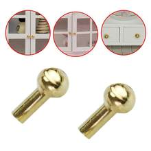 1 Pair 1:12 Dollhouse Gold Color Handle Diy Mini Toy Dollhouse Miniatures Door Pull Handles For Dollhouse For Children Kids(China)