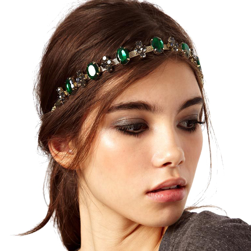 Boho Metal Head Chain Headband Green Rhinestone Wedding vintage bridal headpiece For Women Hair Accessories Hair Jewelry simple pu leather and lace up design sneakers for women